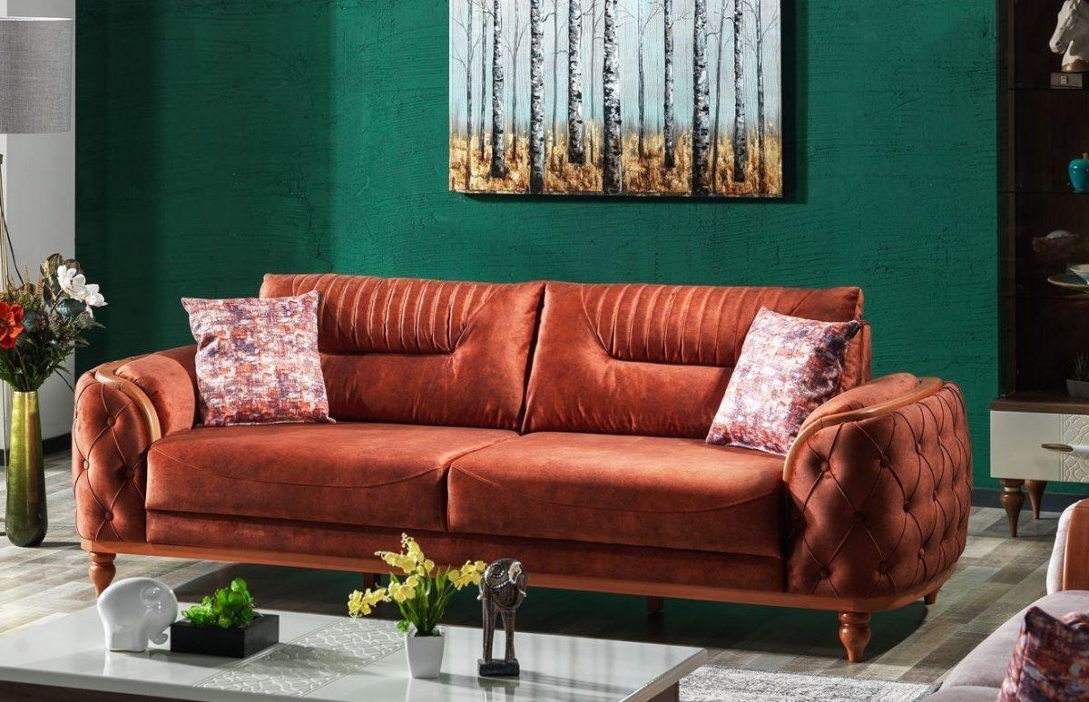 Canapea tapitata cu stofa, 3 locuri, cu functie sleep pentru 1 persoana Zenit Caramiziu K1, l248xA96xH85 cm
