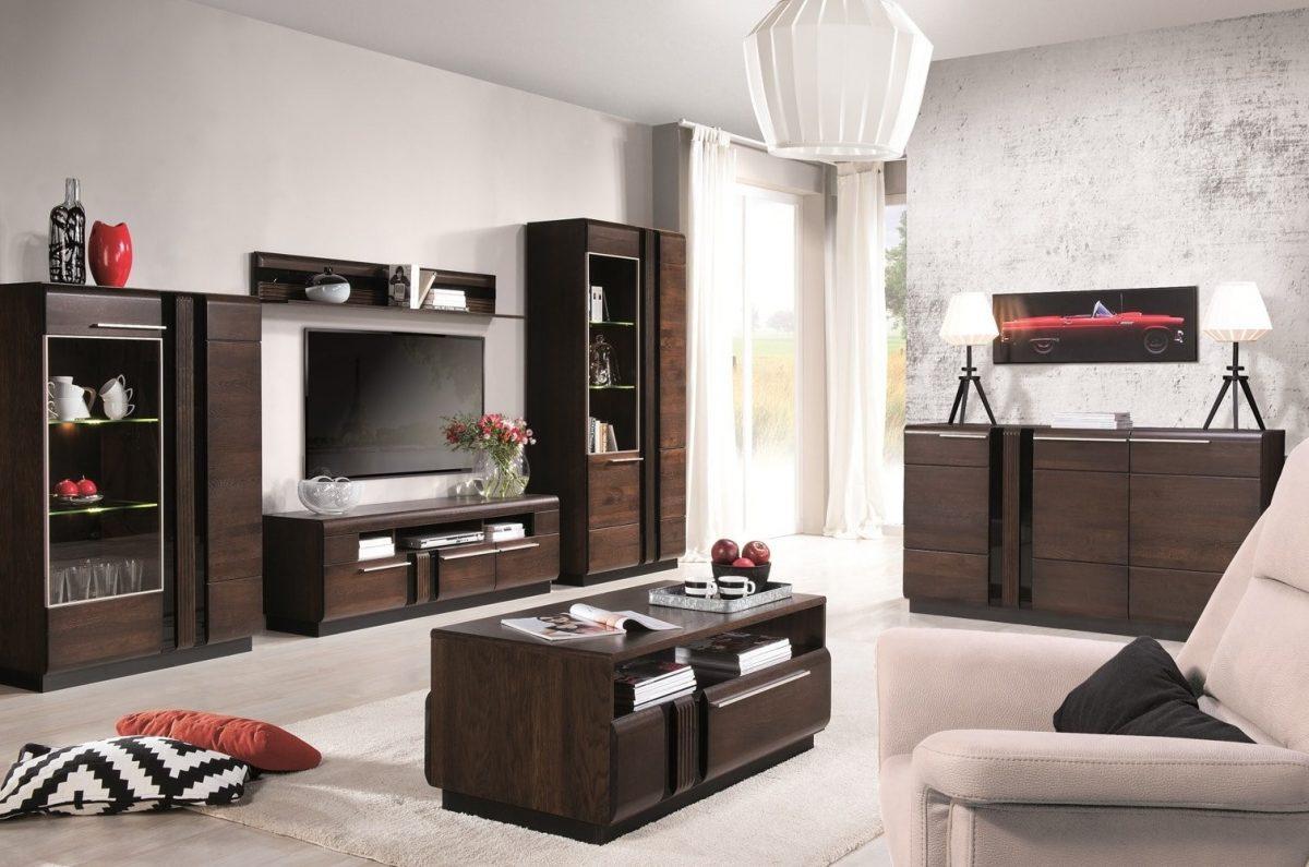 Set de mobila living din lemn si furnir, 6 piese Porti Chocolate Oak